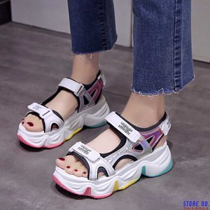 2020Women Chunky Sandals Fashion Leather Platform Sandal White Casual Shoes Gladiator Wedges Shoes For Woman 6cm