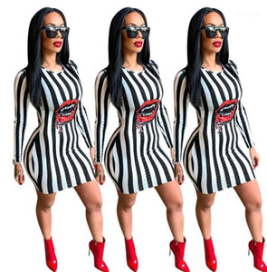 Women Spring Striped Red Lip Design Dress Bodycon Dresses Fashion Clothes Dress