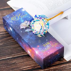 Simulation Eternity 24K feuille d'or rose Fleur arc-en-St Valentin romantique fleur de mariage beau cadeau LED lumineux