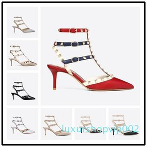 Hot Sale-Designer Pointed Toe Studs Patent Leather rivets Sandals Womens Studded Strappy Dress Shoes valentine 10CM 6CM high heel Shoes c143