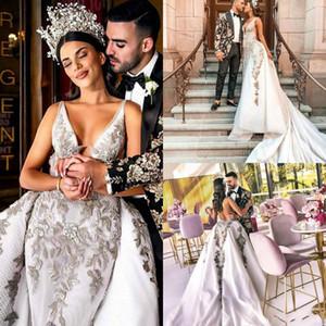 Sereia Do Vintage Vestidos de Casamento Com Saias Destacáveis Rendas Applique Vestido de Casamento Árabe Vestito Sposa Trem Da Varredura Do Vestido de Noiva Árabe