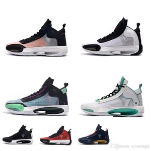 Дешевые новых женщин всячески препятствовать ХХХIV 34С баскетбол обувь синий черный разводят Орео дети Леброн Джеймс 17С ретро aj34 теннисные кроссовки с коробкой размер 5 12