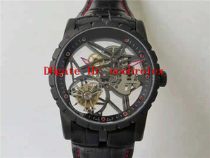 Лучшие EXCALIBUR Real Tourbillon Часы RD820SQ автоматические механические стали 316L Skeleton openworked Циферблат Сапфировое Италия кожаный ремешок
