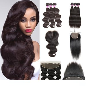 Wholesale Brazilian Virgin Human Hair Wefts With Closure 3 Bundles Body Wave Straight Extension And 4x4 lace closure 13x4 lace Front