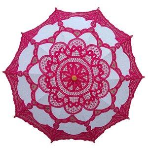 Gelin Ahşap Saplı Düğün Dekorasyon Umbrella için Dantel Gelin Şemsiye Şemsiye Siyah Kırmızı Beyaz Pamuk Güneşlik