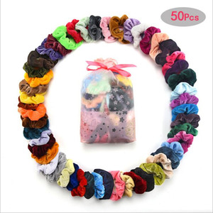 Velvet Scrunchy Bandeaux Scrunchie Poadband Solide Cheveux Holdernytail Il Corde Coiffe Rubber Band Hair Fashion Accesorios 50Pcs / Paquet D7017