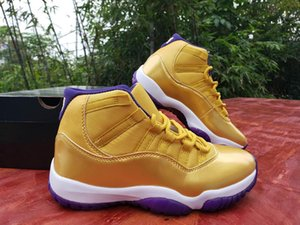 Ucuz Yeni varış 11 11s Yüksek Erkek basketbol ayakkabıları sayısı 24 beyaz mor altın 11'leri Spor Ayakkabıları Boyut 40-47