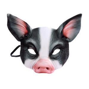 Halloween Engraçado Cosplay animal Porco 3D Realstic Máscara partido do carnaval Meia cara Branco Preto Anime Cosplay EVA MaskCMMA
