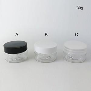 50 x 30g DIY mini portátil de pequeño frasco Pot caja de maquillaje de uñas tarro técnica de los cosméticos Crema 30cc Box Negro tapa transparente blanca envase de plástico