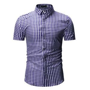 صغيرة منقوشة قميص الرجال الصيف الجديدة قصيرة الأكمام القطن الرجال اللباس قميص عارضة زر أسفل قميص أوم camisa الغمد xxxl