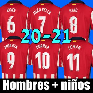 20 21 camiseta de fútbol del Atlético de Madrid JOAO FELIX home rojo Camisetas de fútbol 2020 2021 KOKE SAUL GODIN camiseta de fútbol kits de hombres + niños conjuntos de uniformes