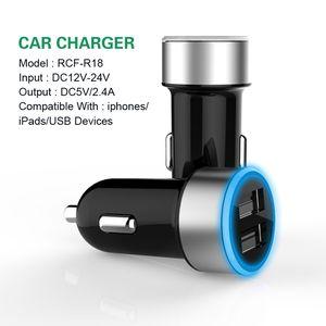Dual USB Car Charging Charger US EU UK Plug 5V 2.4A Led Charging Adapter 2 port for Iphone Samsung Galaxy Note LG Tablet Ipad
