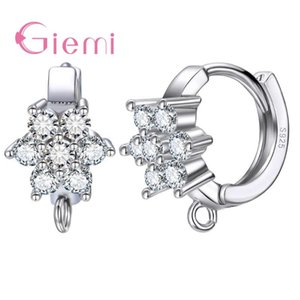 Giemi High Quality High Sale Nice Flower Shape 925 Sterling Silver Crystal Earring For Women Fashion Jewelry Gift Free Shipping