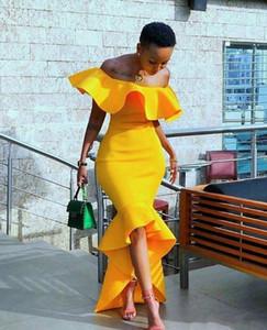 2020 neue gelbe Meerjungfrau High Low Satin Prom Kleider afrikanischen arabischen schwarzen Mädchen nach Maß Brautjungfer Kleider formale Party Wear