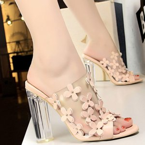 Fashion Crystal High Heel Transparent Word Small Flowers Sweet Women Shoes Casual Sandals and Slippers Zapatos Mujer Large Size