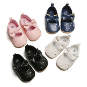 Toddler Girl Crib PU Shoes Newborn Baby Bowknot Soft Sole Prewalker Stars Print Sneakers Baby First Walkers Bowknot Shoes