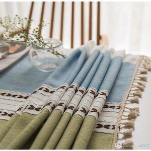Broderie Tassel Nappe Coton et lin Petit frais Table Cloth Coffee House Accueil Décore Fournitures Rectangle Hot ventes 56lx8C1
