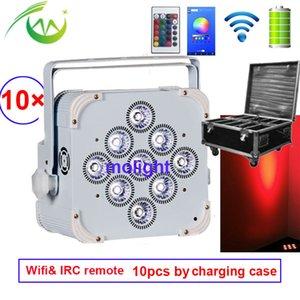 Wireless dmx Uplighting 9 * 18w RGBWA UV DJ Par Battery Power LED Flat Par Licht für Club Disco-Party Hochzeit mit Ladeschale
