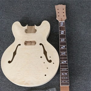 DIY 기타, Flamed Maple Top F 구멍이있는 Foles, Semi Hollow Body가있는 Flamed Jazz Electric Guitar Kit, 기타 부품 전기 기타