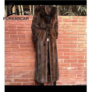 FURSARCAR Hiver Nouveau style réel Manteau pour les femmes en cuir véritable avec col en main Manteau Femme