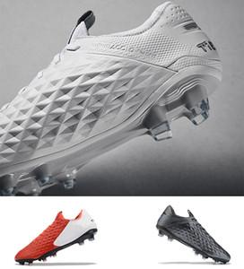 Qualidade agradável Nike Tiempo Legend 8 Elite Chuteiras firme Preto Branco Prata Tiempo Legend VIII Pro Chuteiras Mens chuteiras