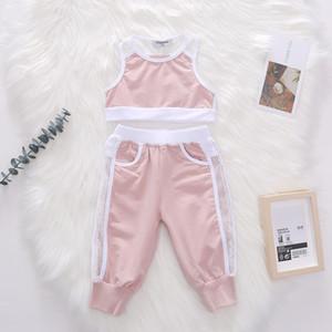 2020 nuove neonate abiti bambini cava maglia gilet tops + traspiranti pantaloni casuali di sport degli insiemi 2pcs i bambini per il tempo libero A2741