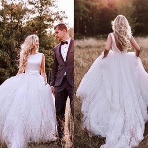 웨스턴 컨트리 A-Line 웨딩 드레스 2019 보헤미안 단순 백 레슬링 Tulle Skirt Bridal Gown Plus Size robe de marriage