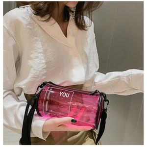 Colorido hombro PVC Jelly Paquete bolso de las mujeres 2019 cadena de moda cilindro transparente bolsos de las señoras de Crossbody del bolso de mujer