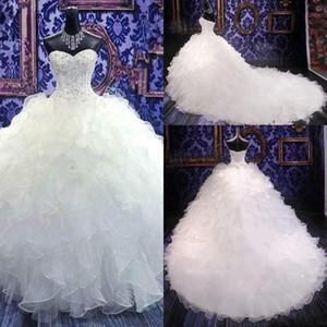 2020 Дешевые Роскошные вышивки кружева линии, свадебные платья бальное платье Корсет Милая органзы оборками собор Поезд Свадебные платья Дешевые
