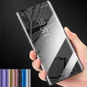 Caso de lujo elegante del tacto del soporte del tirón de la visión clara de teléfono para Samsung Galaxy S10 S9 S8 Plus S10e la caja del espejo para S7 cubierta Edge para iPhone