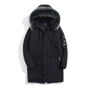 2018 High Street Black Hooded Long Winter Jacket Men Parka