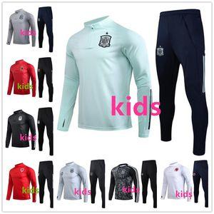 çocuklar İspanya eşofman futbol eğitimi 20 20 çocuk Arjantin Galler Belçika eşofman futbol antrenman 2020 survetement de ayak chándal jogg