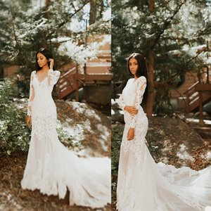 2020 Arabic Mermaid Wedding Dresses Long Sleeve Sheer V Neck Lace Appliqued Sweep Train Bridal Gowns Robe De Mariée