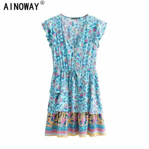 Vintage chic women floral print beach Bohemian Mini dress Ladies ruffles short sleeve v-neck rayon cotton Boho dress vestidos