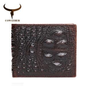 Cowather 100% Top Kuh Echtes Leder Männer Brieftaschen 2019 Männer Brieftasche Krokodil Geprägte Geldbörse Vintage Designer Männlich Kostenloser Versand Y19052104