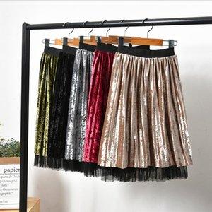 Wear On Both Sides 2019 Pleated Velvet Skirt Child Skirt Kids shein Skirt Toddlers Gonna Tulle Children Baby Girls Long Skirts Y200704