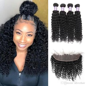 Brazilian Indian Hair Extensions Peruvian Water Wave Human Hair Bundles With Closure 13x4 Lace Frontal Body Wave Loose Deep 4pcs Kinky Curly