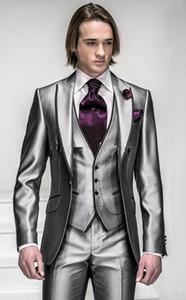 New Korea-Satin Helles Silber Mit Schwarzer Krempe Mann Bräutigam Smoking Hochzeitsanzüge Prom Formelle Anzug (Jacke + Hose + Weste) ZX6