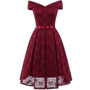 2019 Barato Comprimento de Chá Borgonha Vestidos de Festa Fora do Ombro Do Laço Curto Homecoming Vestido De Cocktail Vestidos de Noite