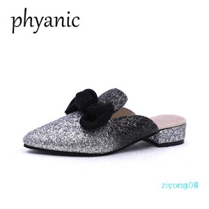 Phyanic trasporto di goccia 2018 nuova estate bling gitter Boetie donne calza muli punta aguzza scarpe da sposa pantofole da donna Z08