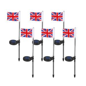 Флаг Великобритания Солнечного Сад Доля Свет Соединенного Kimdom Флаг Тропинка огни Солнечные огни флаг с металлическим Pole коле
