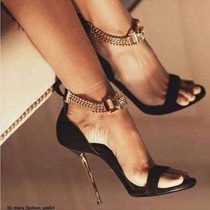 Heiße Sale-New Liste aus echtem Leder Tau Metall dekorative High Heels Schuhe sexy T Bühne Laufsteg Mode Frauen Sandalen