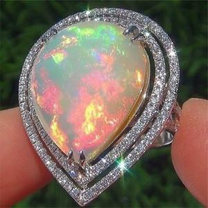YOBEST Couleur argent romantique CZ Big White Fire Heart Opal Rings pour les bandes Femmes Dropshipping Bijoux Bague