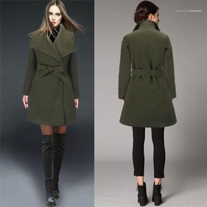 Coats Fashion Solid Color women Outerwear Casual Female Wool Coats New Sashes Lapel Neck Women Winter