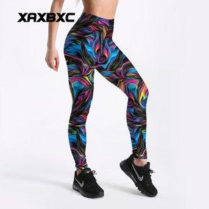 New Mulheres Pant C4072 arco-íris listra Pintura push impresso para cima Magro calças justas aptidão Mulheres Jogging GYM Yoga Pants Femme Esporte Leggings