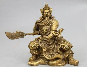 China Pure Brass Copper Dragon Guan Gong Guan Yu warrior Mammon Buddha statue