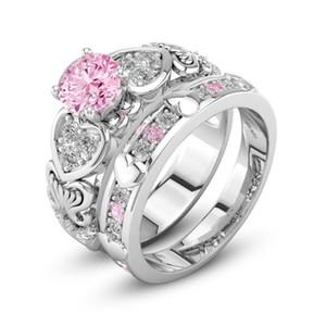 Key4fashion Ücretsiz Çift Yüzükler Onun Lüks Takı Için 925 Ayar Gümüş Dolu Pembe Safir CZ Elmas Kadınlar Düğün Gelin Yüzük Seti hediye