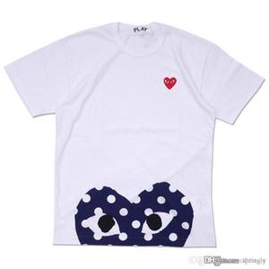 Venda Por Atacado melhor qualidade quente feriado vermelho coração azul emoji jogar polka dot com up-down coração t-shirt (branco)