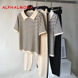 ALPHALMODA 2019 Sommer-Turn-down Collar gestreifter Strick kurzärmeliges T Tops + Striped Knit Hosen 2pcs beiläufige Frauen-Klagen