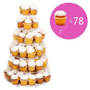 Gran 6-Tier acrílico vidrio redondo pastel de boda Stand- Cupcake Stand Torre / Postre Stand- Pastelería que sirve plato- Soporte de exhibición de alimentos (grande